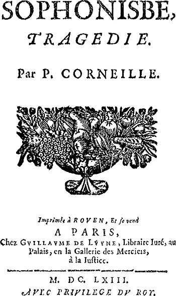 "Title page from ""Sophonisbe"" (1663 e..."