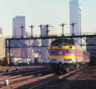 MBTA Commuter Rail - An EMD FP10 locomotive near South Station in 1981. These units were retired in 1991.