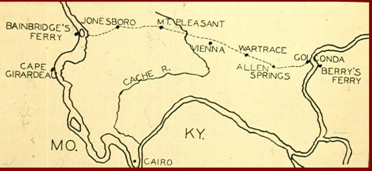 Southern Illinois Trail of Tears map