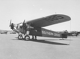First aerial circumnavigation - The Southern Cross at a RAAF base near Canberra in 1943.