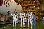 Soyuz TMA-06M crew during the 'fit check'.jpg