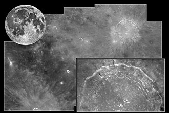 Copernicus (lunar crater) - Hubble views of Copernicus crater (inset), showing its location on the near side