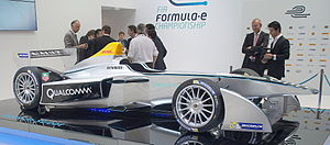 Lucas di Grassi - Di Grassi (rightmost, holding the steering wheel) and Formula E CEO Alejandro Agag (6th person from left) unveiling the Spark-Renault SRT 01E.