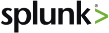 "Splunk's logo consists of the company's name in a sans-serif font, followed by a ""greater than"" symbol in light green."