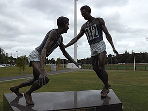 Olympic Park Stadium - Mitch Mitchell's sculpture depicting Landy's moment of sportmanship