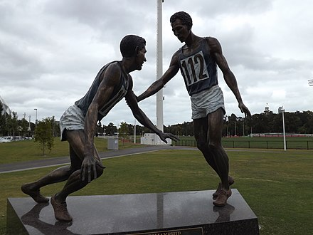 A moment of sportmanship when John Landy helped Ron Clarke get up after he had fallen. Sportmanship sculpture.jpg