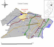 Map of Springfield Township in Union County. Inset: Location of Union County highlighted in the State of New Jersey.