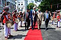 Sri Lankan Foreign Minister Samaraweera Escorts Secretary Kerry Through Cordon of Traditional Dancers Upon Arrival at Ministry of Foreign Affairs in Colombo (17152785600).jpg