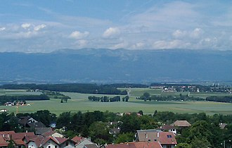 Battle of Saint-Julien (1814) - The Jura Mountains can be seen from Saint-Julien.