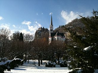 St. Martin's Parish Church (Bled) - St. Martin's Parish Church in the winter, beneath Bled Castle