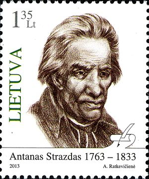 Antanas Strazdas - Stamps of Lithuania, 2013