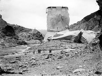 St. Francis Dam - Standing section with fragments from east side of dam