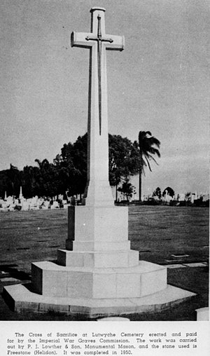 Lutwyche Cemetery - Cross of Sacrifice at Lutwyche Cemetery, circa 1954