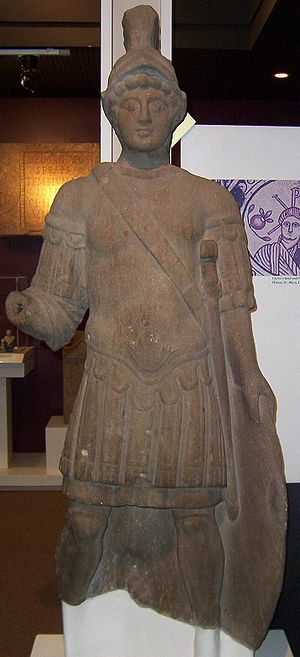 Statue of Roman God Mars in the Yorkshire Museum found in Blossom Street York and dates from the early 4th century. Taken by Kaly99. Article Eboracum