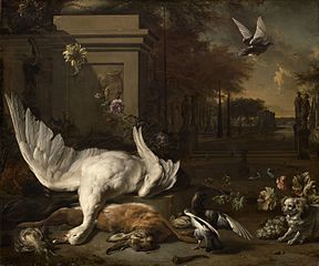 Still Life with Swan and Game before a Country Estate