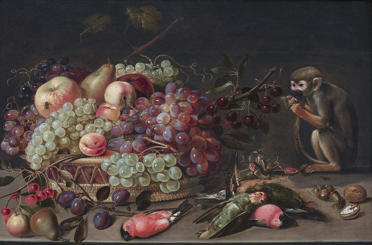 Clara Peeters, Still life of fruit, dead birds and a monkey, 1620, private collection
