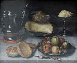 Floris van Dyck - Image: Still life pewter jug fruit cheese Floris van Dyck
