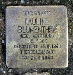 Photo of Pauline Blumenthal brass plaque