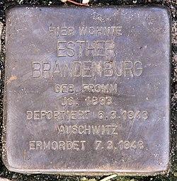Photo of Esther Brandenburg brass plaque