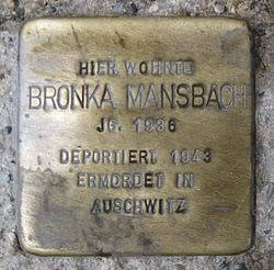 Photo of Bronka Mansbach brass plaque