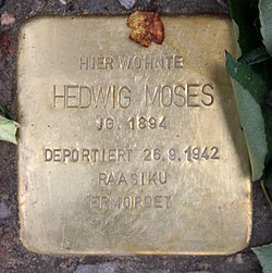 Photo of Hedwig Moses brass plaque