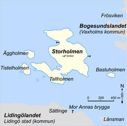 Kort over Storholmen med omkringliggende øer.