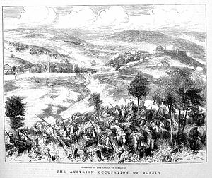 Sarajevo in Austria-Hungary - Austro-Hungarian forces storming Sarajevo on 19 August 1878.