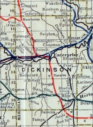 Herington, Kansas - 1915 Railroad Map of Dickinson County