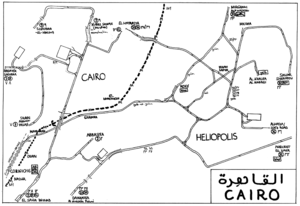 Trams in Greater Cairo - Cairo tramway map as of 1996.