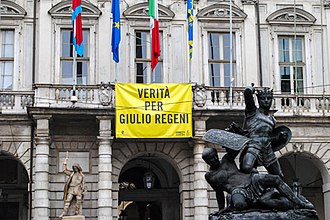 "Murder of Giulio Regeni - Banner ""Truth for Giulio Regeni"" (Verità per Giulio Regeni) on the city hall in Turin, Italy"