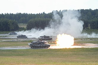Armoured warfare - A shoot-off between Leopard 2A6 tanks during the Strong Europe Tank Challenge, 2018.