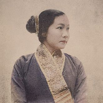 Suea pat - The late princess Khamla Khammao of the Kingdom of Laos wearing a suea pat