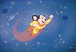 Late 1950s/1960s depiction of Mighty Mouse used in the opening of TV prints of some cartoons