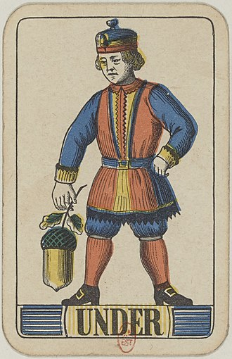 Unter (playing card) - Image: Swiss card deck 1850 Under of Acorns