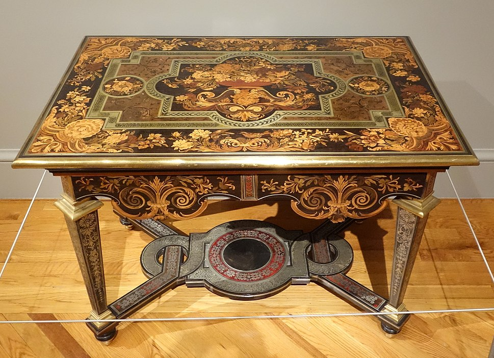 Table, Andre-Charles Boulle, Paris, c. 1670-1680, marquetry of various woods, pewter, brass, copper, horn, tortoiseshell - California Palace of the Legion of Honor - DSC07731