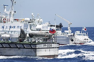 Senkaku Islands dispute - ROC Coast Guard vessel and Japan Coast Guard vessel.