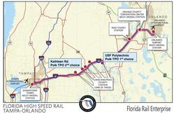 "Florida Rail Enterprise map of the Orlando Tampa route"""