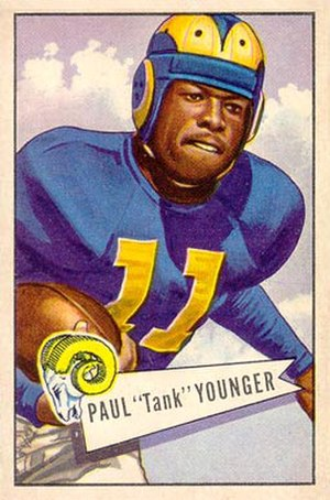 "Paul ""Tank"" Younger - Younger on a 1952 Bowman football card"