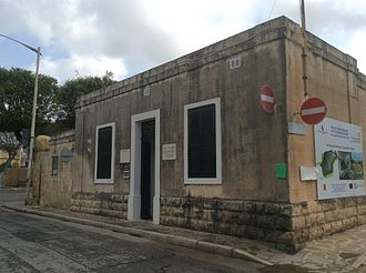 Tarxien Temples - Museum building and entrance to temples, with project of tent on side façade
