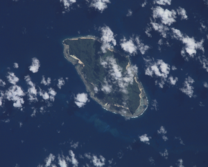 Taumako - Taumako seen from space. Lua, one of the small Bass Islands can be seen on the right-hand side. Courtesy NASA.