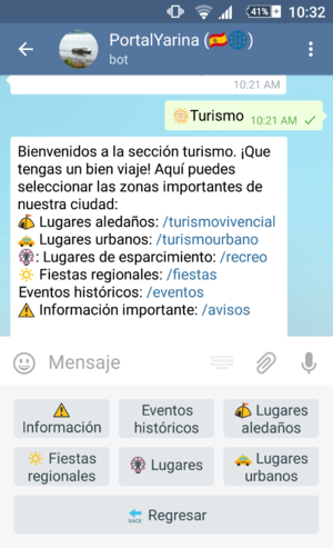 Chatbot - Spanish language text-based chatbot in virtual assistant running on Telegram messaging app