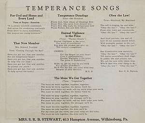Temperance songs - This is the songbook used at the Womens Temperance Organization from Wilkinsburg, PA