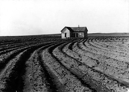 Power farming displaces tenants from the land in the western dry cotton area. Childress County, Texas, 1938