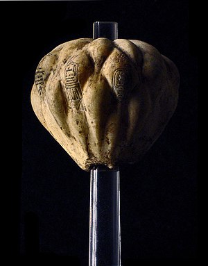 Teti - Piriform mace head inscribed with the cartouche of Teti, Imhotep Museum.
