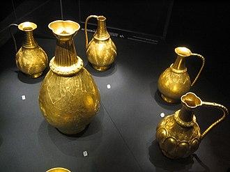 Treasure of Nagyszentmiklós - Part of the treasure of Treasure of Sânnicolau Mare in the Kunsthistorisches Museum.