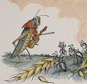 The Ant and the Grasshopper - 1919 illustration of Aesop's Fables by Milo Winter