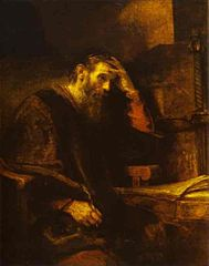 A portrait of the apostle Paul, attributed to Rembrandt (c. 1657).