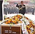 The Chief of Army Staff, General Bipin Rawat paying homage at the mortal remains of Major Amit Sagar, in New Delhi on January 29, 2017.jpg