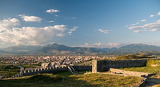 Founded in the 4th century BC, Scodra was an significant city of the Illyrian tribes of the Ardiaei and Labeates. The City and the Prokletije from the castle.jpg