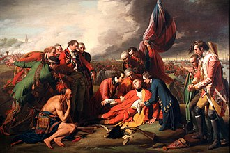 The Death of General Wolfe (1771), on the Plains of Abraham, near Quebec The Death of General Wolfe B.West,1770.jpg